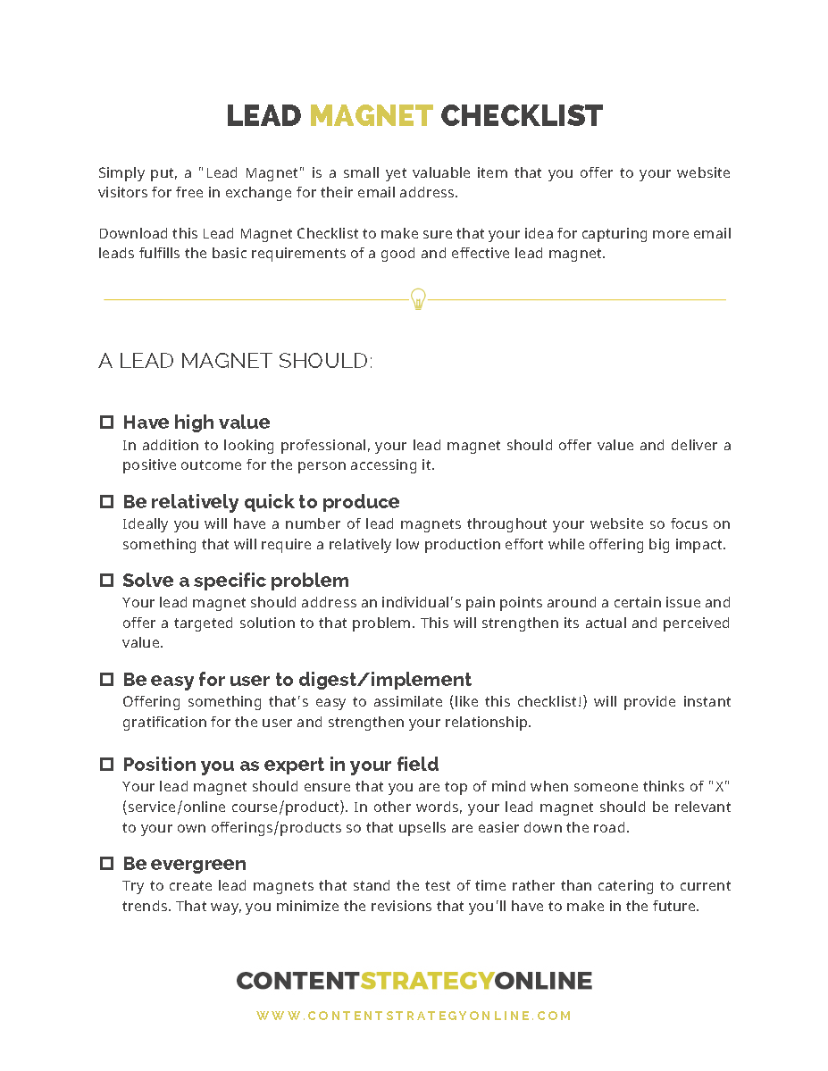Lead Magnet Checklist - Content Strategy Online