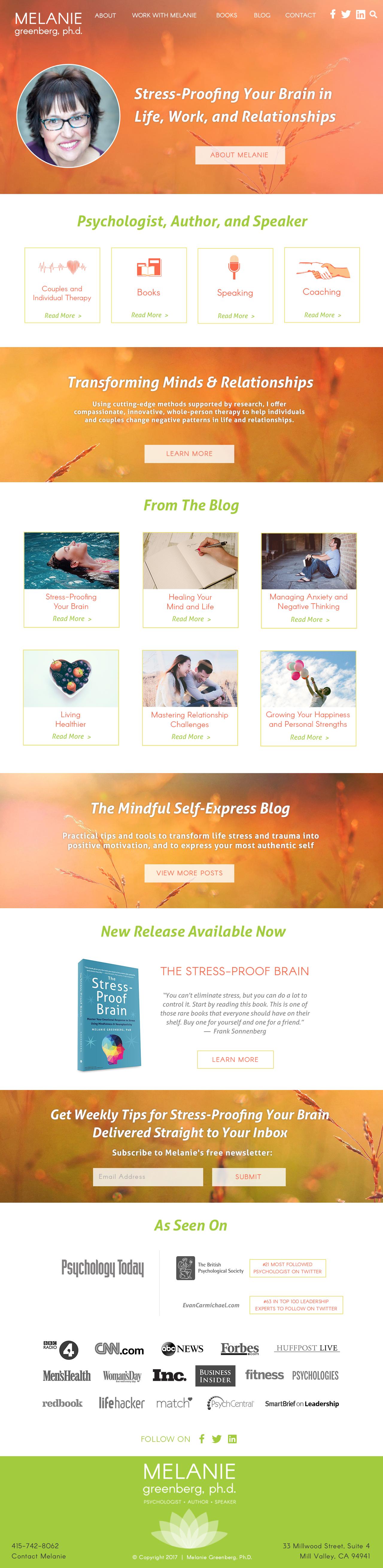 MelanieG homepage mockup